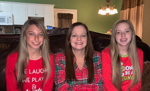 Smantha and girls decked out in Christmas PJs